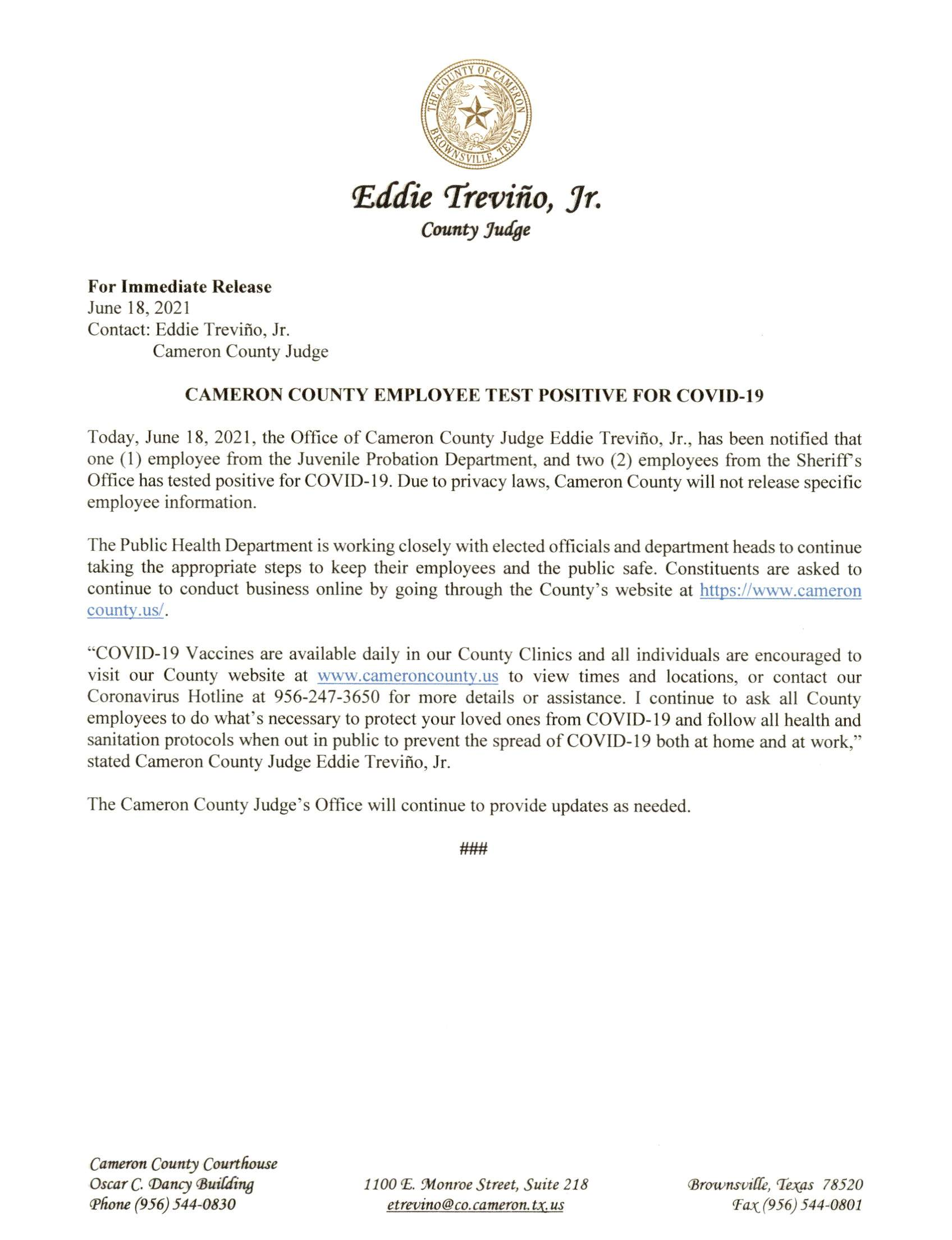 2021.06.18 PR Cameron County Employee Test Positive For COVID 19