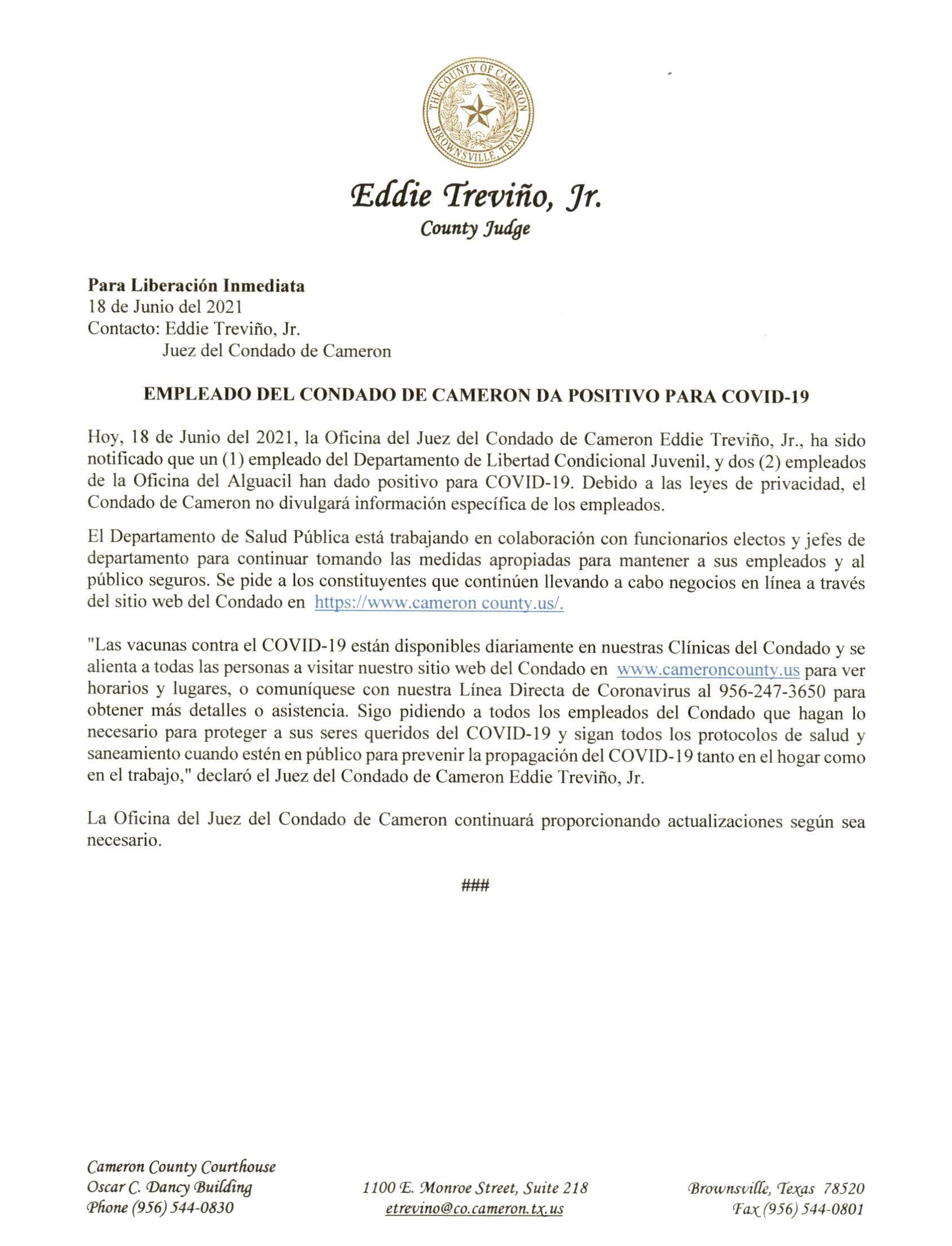 2021.06.18 PR Empleados Del Condado De Cameron Da Positivo Para COVID 19
