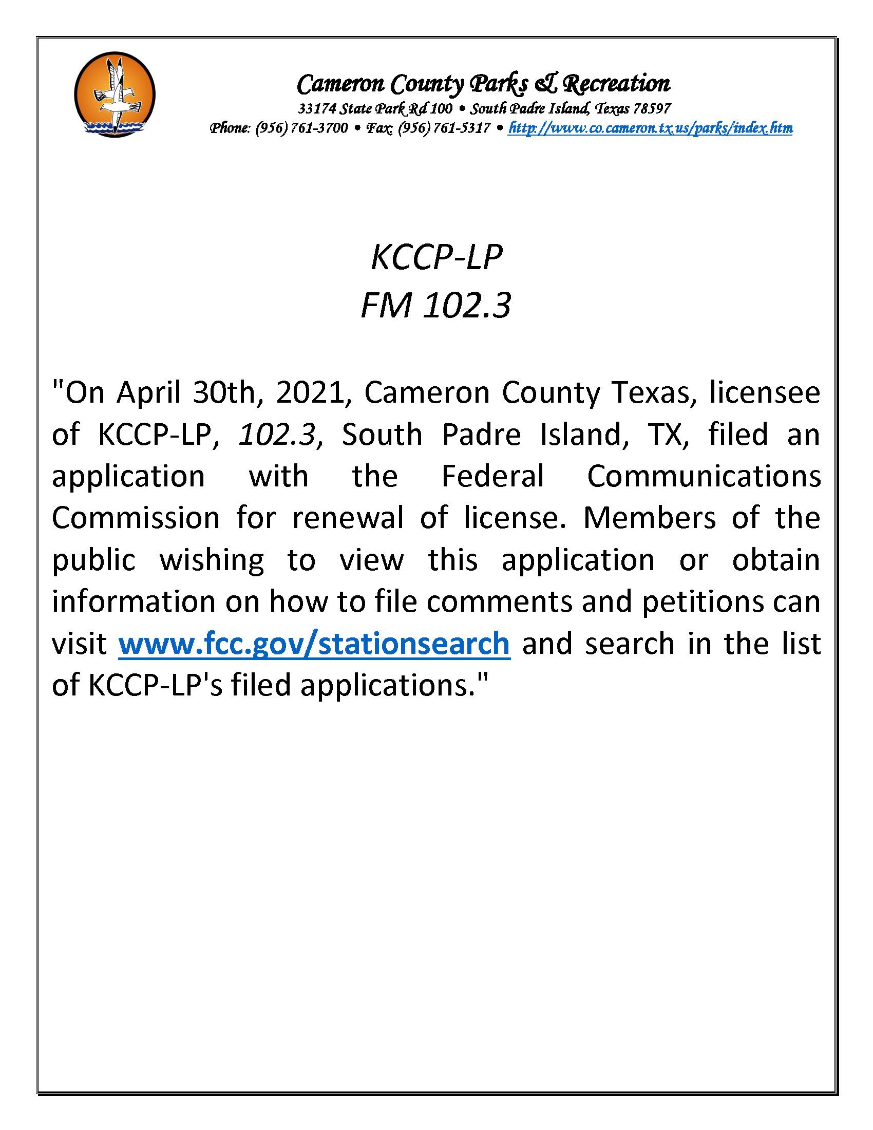 KCCP LP FM 102.3 Publication