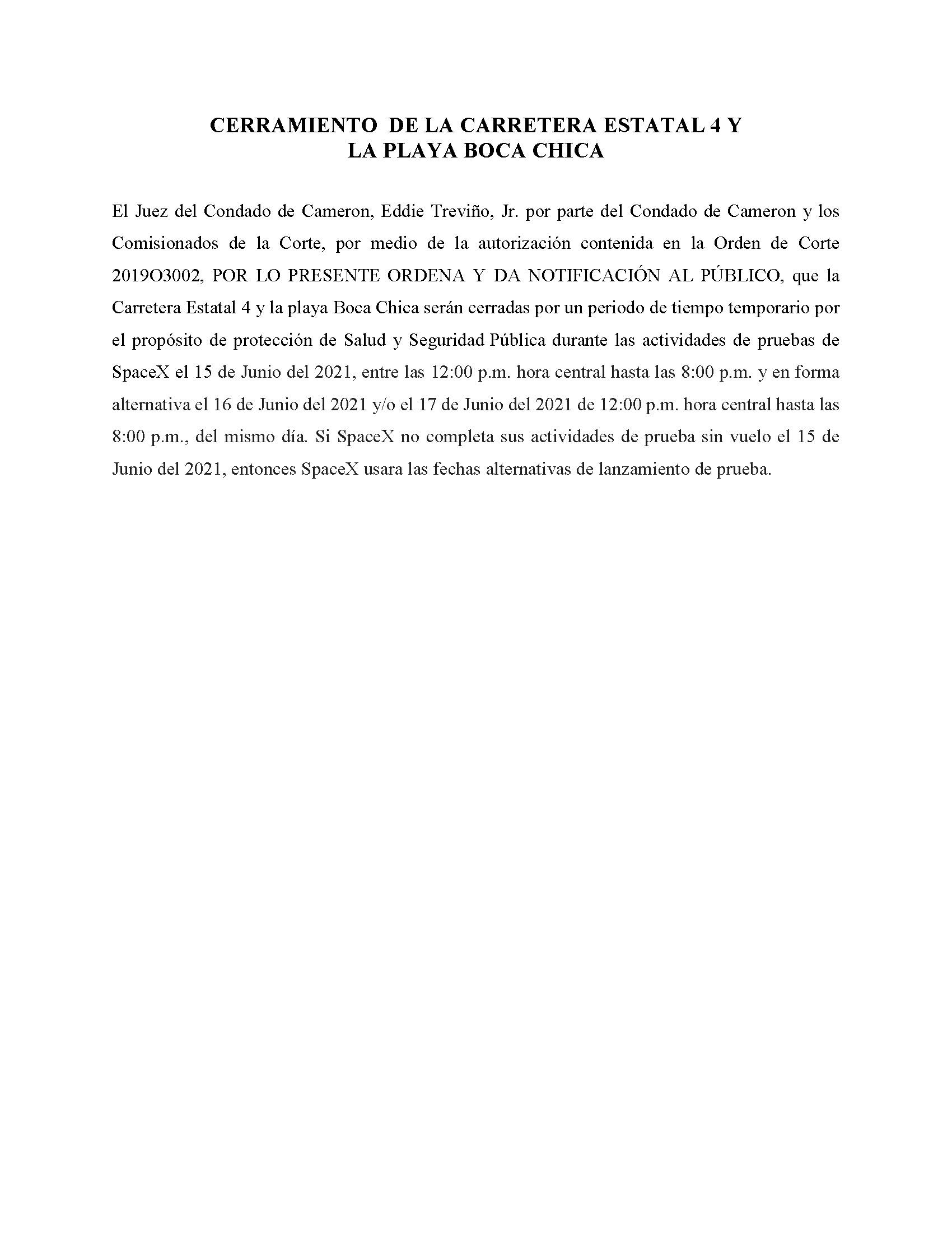ORDER.CLOSURE OF HIGHWAY 4 Y LA PLAYA BOCA CHICA.SPANISH.06.15.2021
