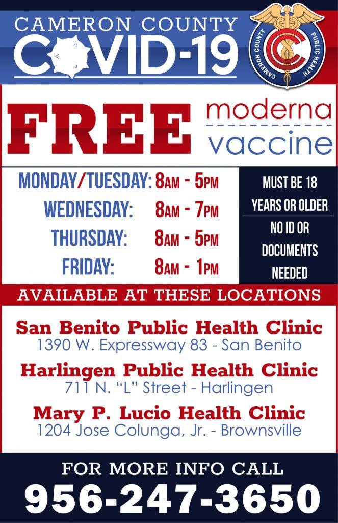 Cameron County Free Moderna Vaccine