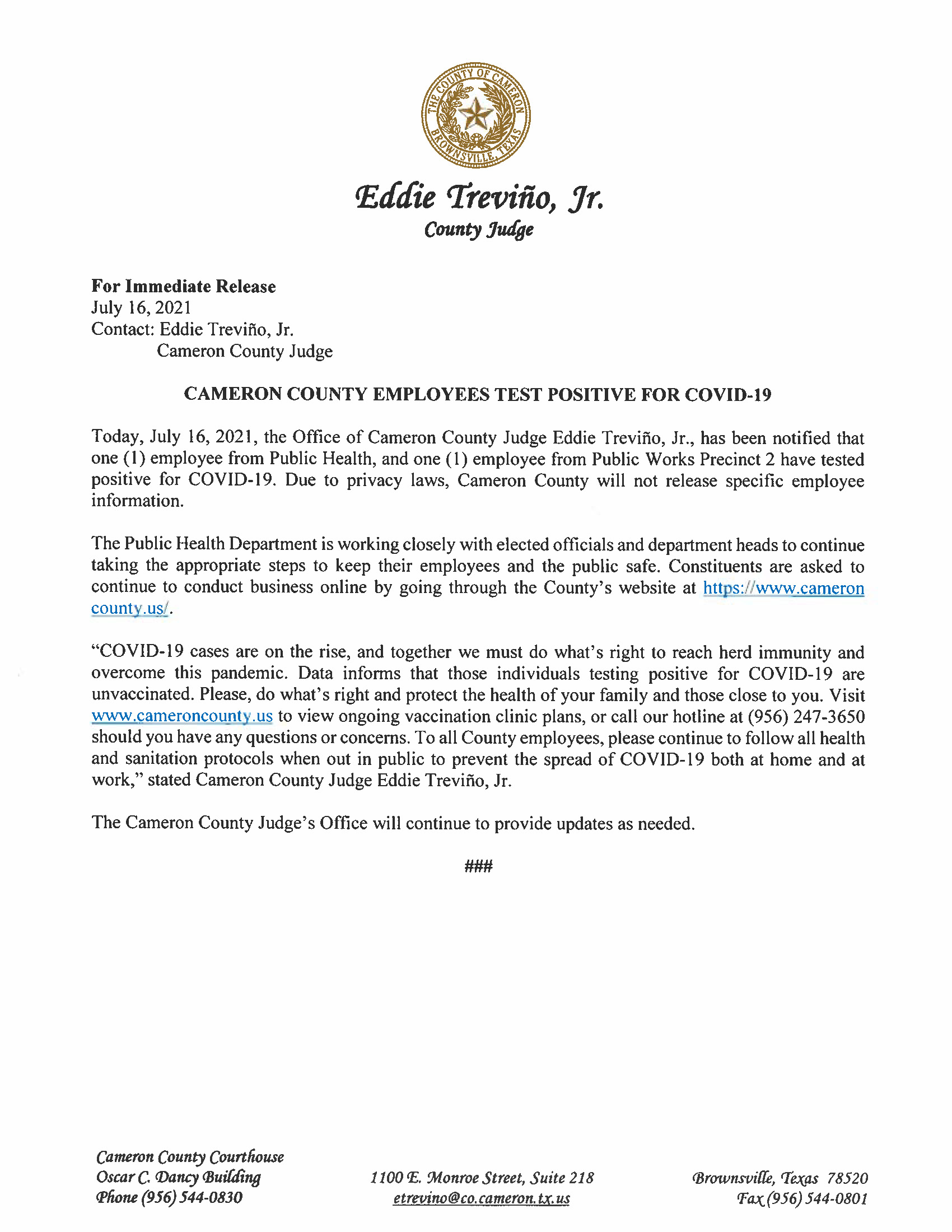 7.16.21 Cameron County Employees Test Positive For COVID 19